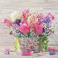 Servietten 33x33 cm - Pastell Spring Flowers