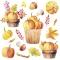 Servietten 33x33 cm - Pumpkins in Wooden Buckets